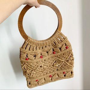 Vtg Crochet Shoulder Tan Rouge Bag Wooden Handles